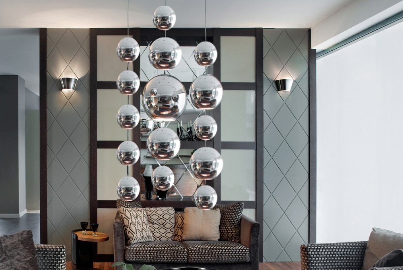 Metalowa kula 10 x 120 cm 74.004.10   hanging decoballs - chrome