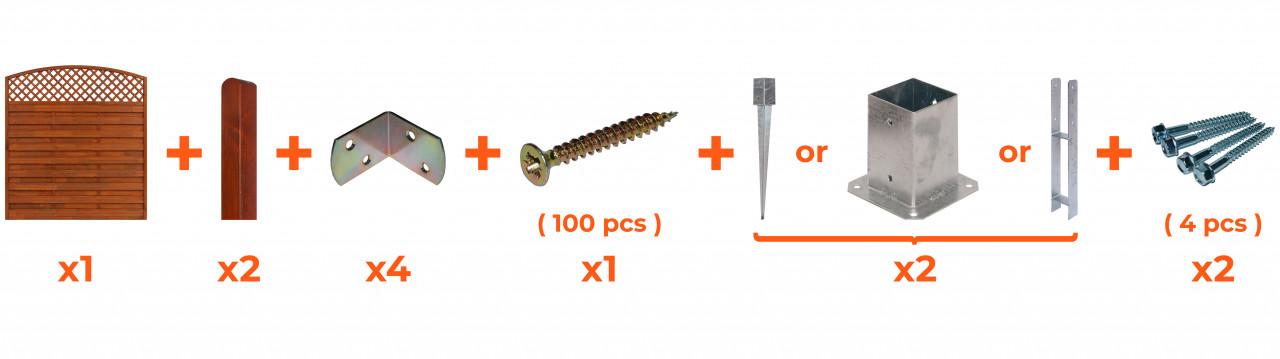 Płot ryflowany 1800/1950 x 1800 mm BORDEAUX Teak