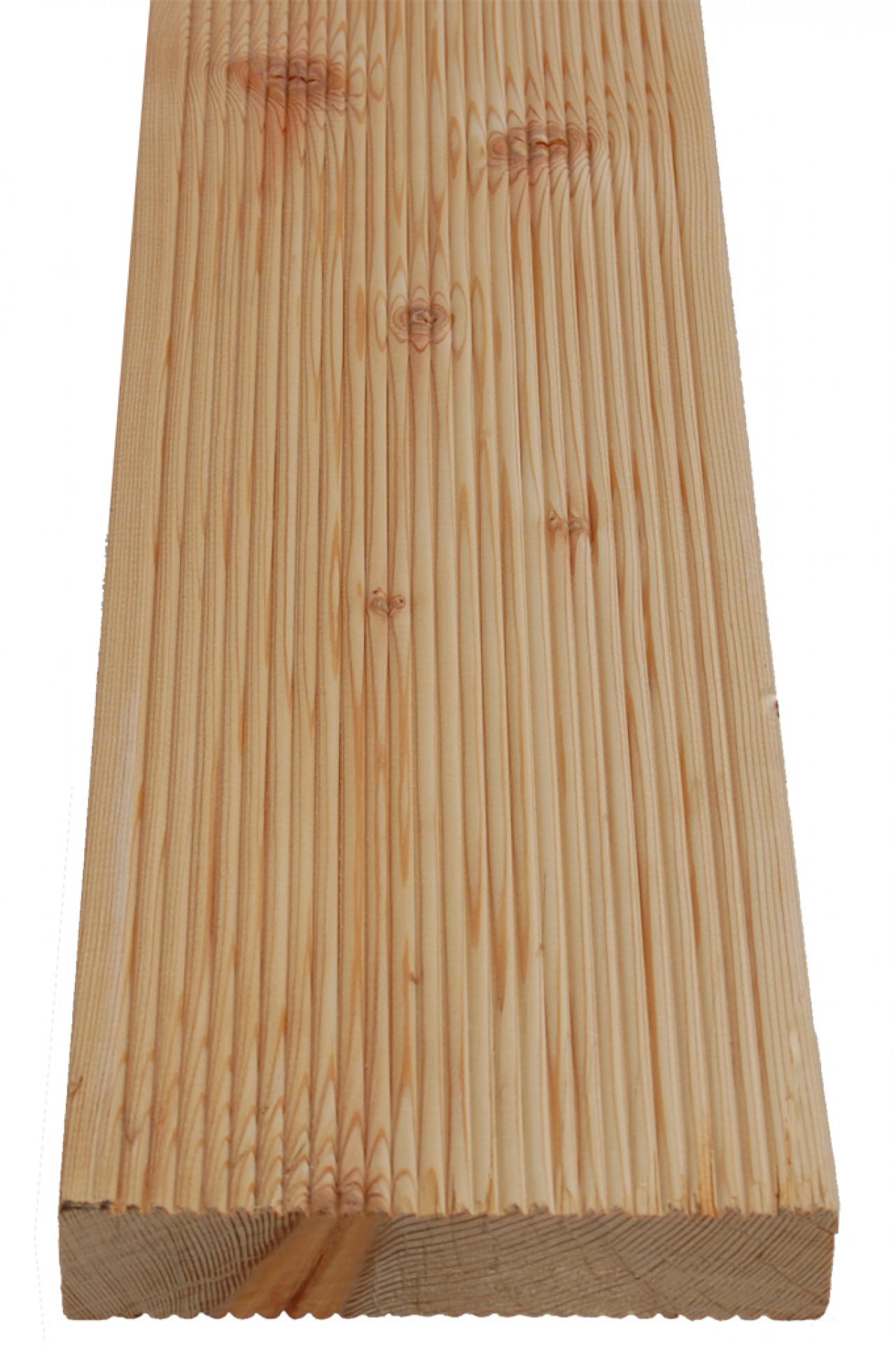 Deska tarasowa ryflowana Modrzew Syberyjski 28 x 142 x 2500 mm - Surowa - klasa AB - drobny ryfel