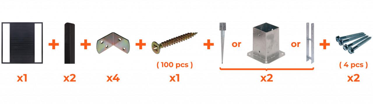 Płot boazeryjny 900/1800 x 900 mm DUO Antracyt