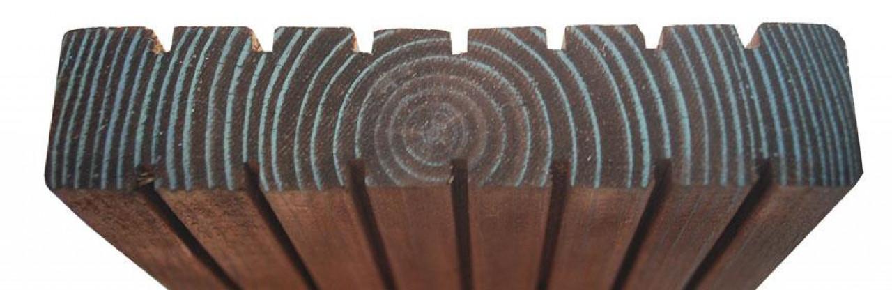 Deska tarasowa ryflowana 25 x 120 x 2400 mm ( Sosna ) Impregnowana Brąz - klasa AB